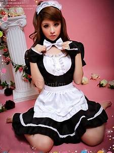 Cute Girls Backless Color Block Maid Costume Set ...