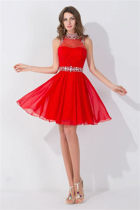 Elegant Sleeveless Red Chiffon homecoming Dress High Neck With Beadings Crystals - Products ...
