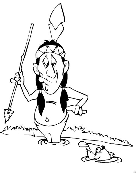 indianer jagt fische ausmalbild malvorlage comics