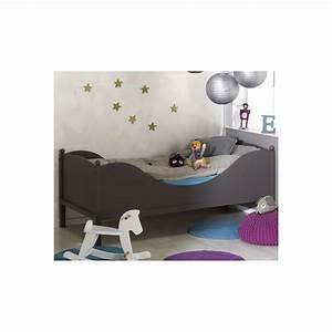 Lit enfant taupe 90x190 arthtaum01 for Deco chambre enfant avec achat matelas latex 90x190