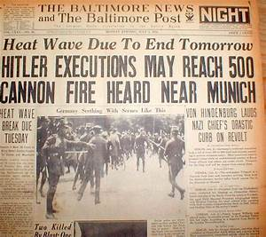 2 1934 headline newspapers HITLER KILLS Nazi RIVALS in ...