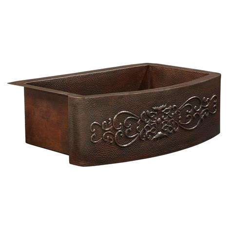farmhouse copper kitchen sink sinkology donatello farmhouse apron front 36 in single 7146