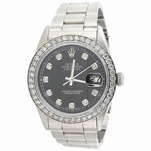 Mens Rolex 36 MM DateJust Oyster Stainless Steel Black ...