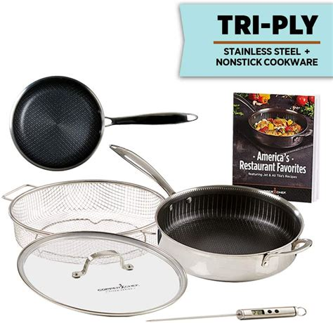 copper chef titan pan  ply stainless steel  pieces set  stick frying pans ebay