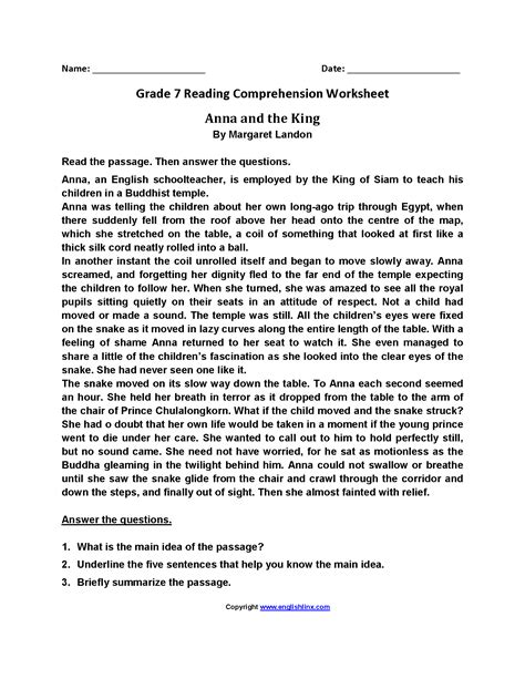 reading comprehension worksheets grade 7 the best reading comprehension worksheets grade 7 the best
