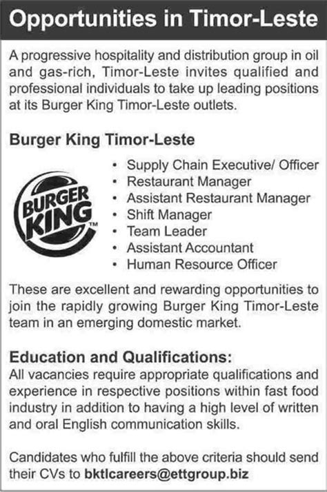 burger king resume burger king in timor leste