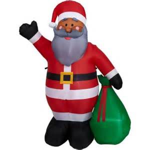 home accents holiday 6 5 ft h inflatable santa with gift sack 37556 the home depot