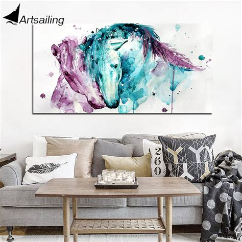 modular poster hd prints home decor 1pieces canvas steeds horses living each other