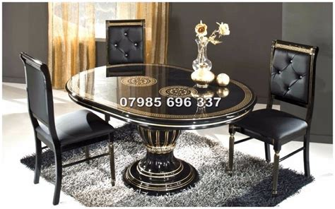versace style rossella italian dining table  chairs