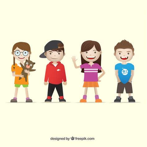 Several children wearing modern clothes Vector  Free Download
