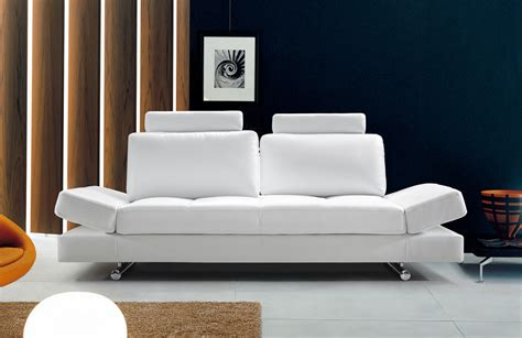 contemporary white leather sofa hymn modern white leather sofa w adjustable backrest