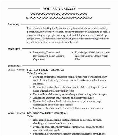 tellers and customer service resume exles banking and