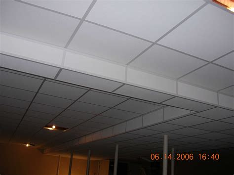 White Painted Basement Ceiling Tiles For Low Basement