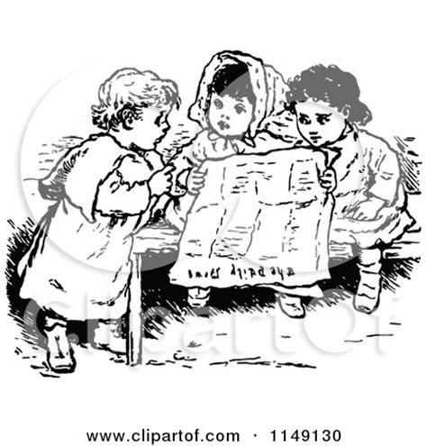 clipart  retro vintage black  white children reading