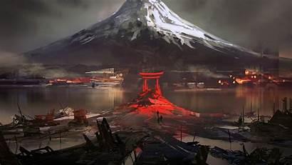 Japan Fuji Drawing Torii Mountain Snow Winter