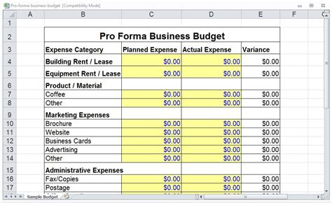 Pro Forma Template Pro Forma Budget Template