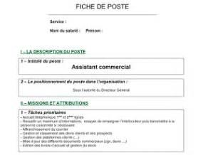 modele fiche de poste vierge document