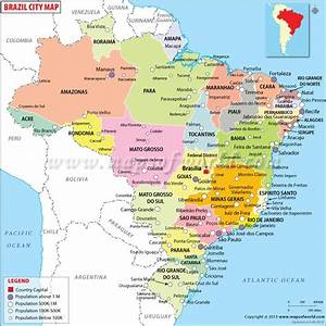 Cities in Brazil, Map of Brazil Cities