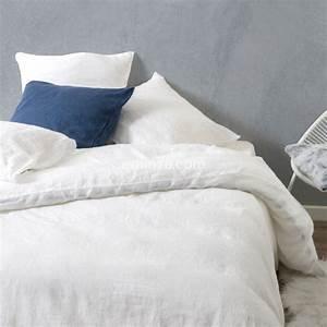Housse De Couette Lin Lavé Bensimon : housse de couette lin lav 260 cm sonate blanc neige linge de lit eminza ~ Farleysfitness.com Idées de Décoration