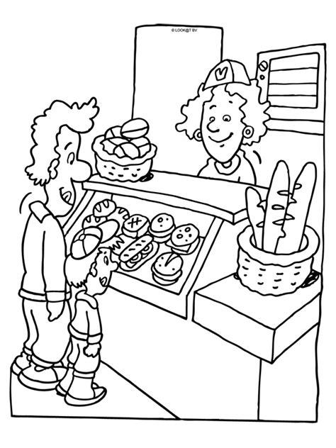 Kleurplaat Ijscokraam by Kleurplaat Broodjeswinkel Thema Bakker Bakker