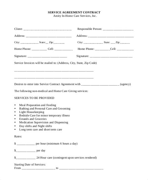 service agreement contract template 15 service contract sles sle templates