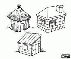 coloriage ce sont les trois maisons des trois petits With maison brique et bois 1 quia les trois petits cochons 2