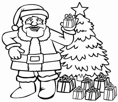 Christmas Santa Claus Coloring Tree Pages Hey