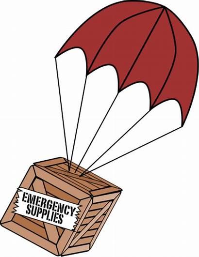 Clipart Supply Parachute Box Earthquake Emergency Umbrella