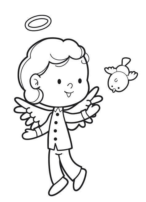 kostenlose malvorlage engel engel junge und vogel zum