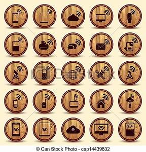Vectors of Wood WiFi icons Mobile and wireless Buttons