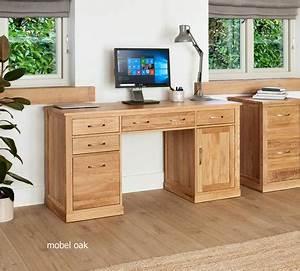 Mobel Solid Oak Modern Computer Desk Twin Pedestal