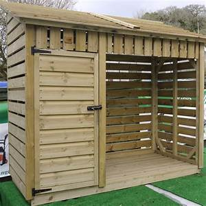 2m Log Store With Kindling Cupboard Small The Wooden