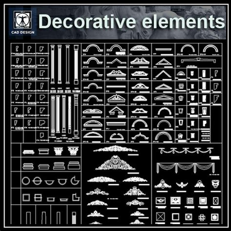 architectural decorative elements cad drawings