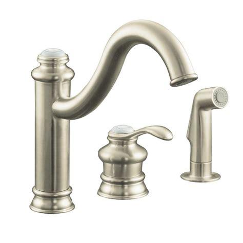 kitchen faucet brushed nickel shop kohler fairfax vibrant brushed nickel 1 handle high