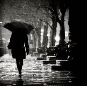 black and white, girl, rain, umbrella - image #241248 on ...