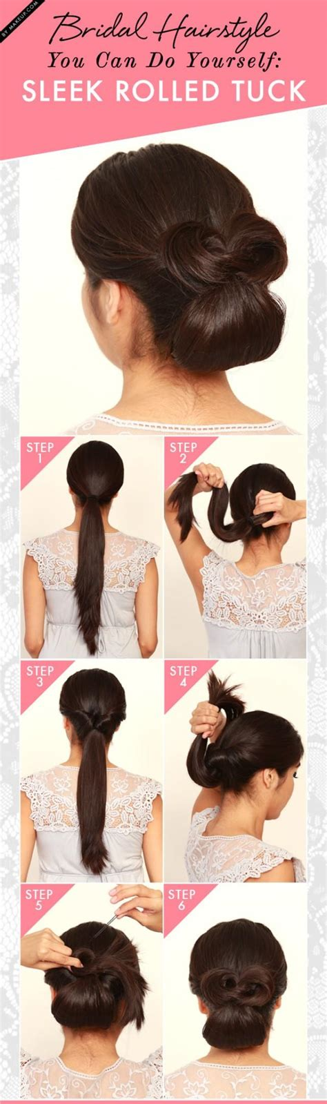 bridal hairstyle      sleek rolled tuck weddbook