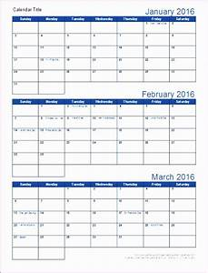 6 3 month calendar template excel exceltemplates With calendar template by vertex42 com