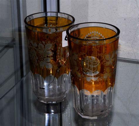 bicchieri cristallo boemia coppia di bicchieri in cristallo di boemia xix secolo