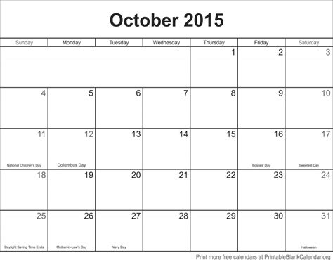 Full Page Blank Calendar Template