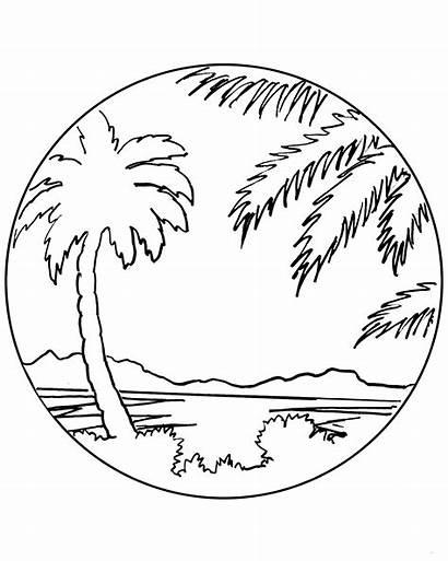 Sunset Palm Tree Hawaiian Drawing Plate Ceramic