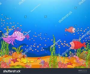 Ocean Underwater World Cartoon Coral Reef Stock Vector ...