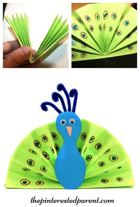 construction paper fan peacock craft kids arts