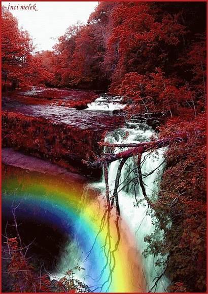 Rainbow Amazing Nature Gifs Waterfall Water Awesome