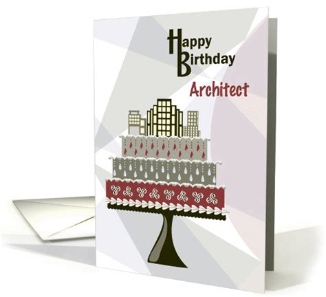 skyscrapers  cake architect happy birthday card