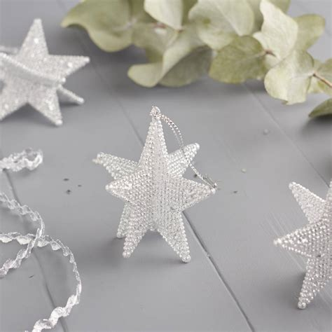 silver sparkly star christmas tree decoration