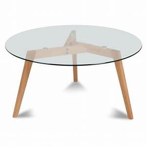 Table Basse Scandinave Ronde : table basse ronde verre et bois scandinave fiord ~ Teatrodelosmanantiales.com Idées de Décoration