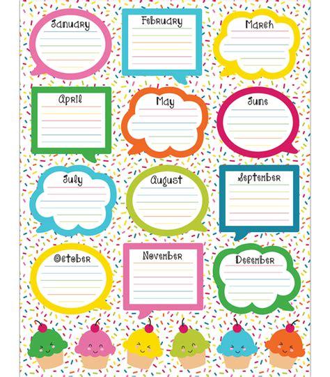Birthday Chart Template For Classroom by School Pop Birthday Chart Grade Pk 5
