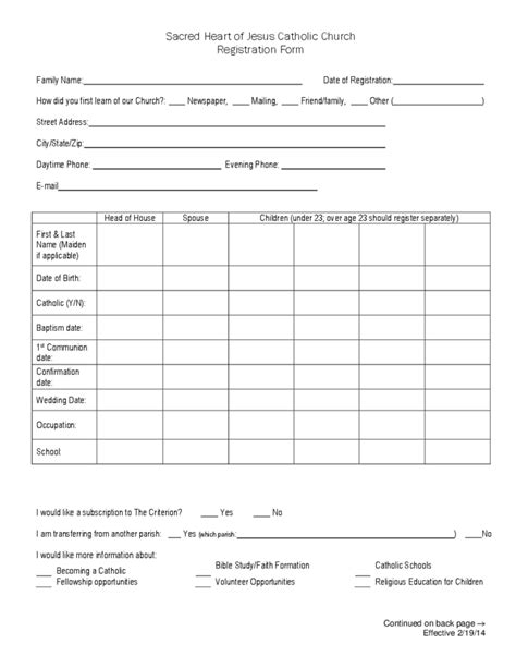 sacred heart  jesus catholic church registration form