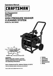 Craftsman 580 76804 Pressure Washer User Manual