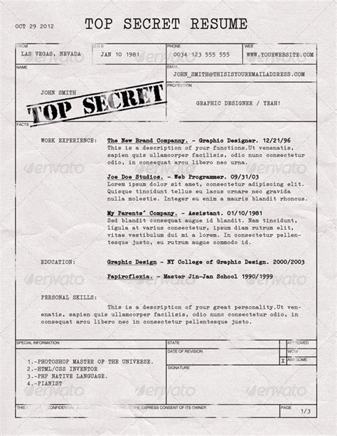 Secret Resumen by Top Secret Resume Cv By Dengio Graphicriver